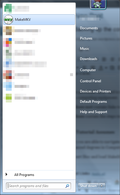 Launching MakeMKV from the Start Menu in Windows 7