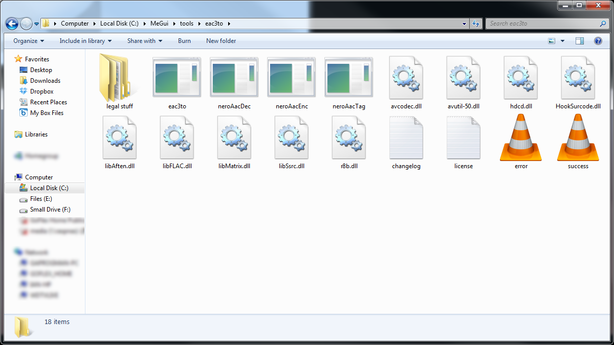 The NeroAAC contents extracted to the MeGui tools folder.