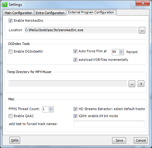 The External Program Configuration tab