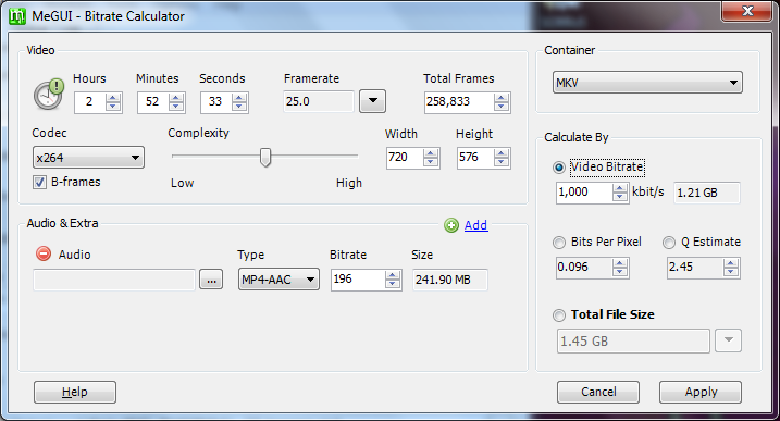MeGuis calculator for the bit rate. The only thing I ever change is the kbit/s value for video