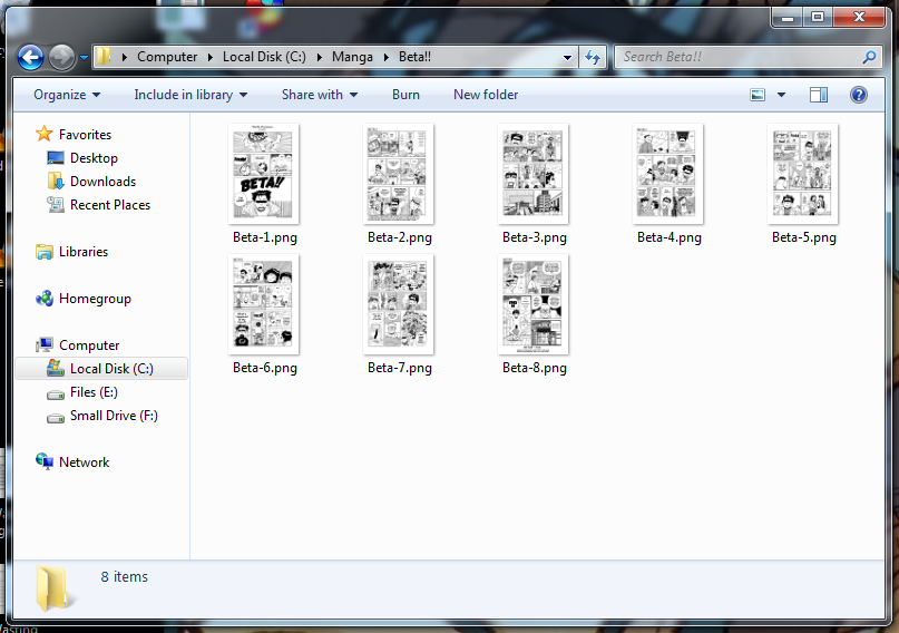 A Folder containing some scanned comic book pages