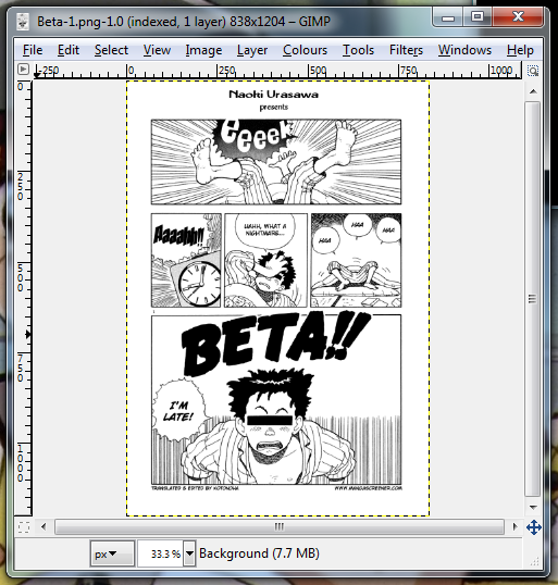 GiMP being used to edit a page of a comic book