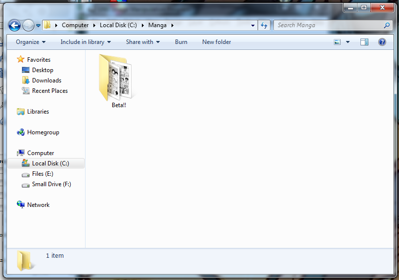The folder that contains my scanned comic book files